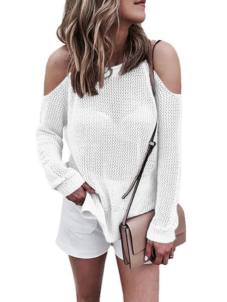 Women Round Neck Long Sleeve Hollow Off Shoulder Knit Sweater