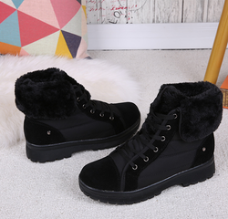 Women Daily Applique Faux Suede Flat Heel Boot
