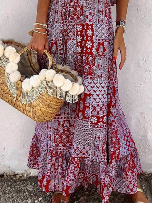 Mostata Purple Boho Cold Shoulder Floral Plus Size Women Dresses