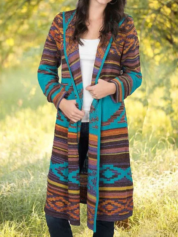 Plus Size Tribal Paneled Cardigan