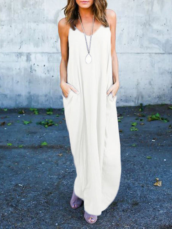 Resort Pockets Spaghetti-Strap Maxi Dresses