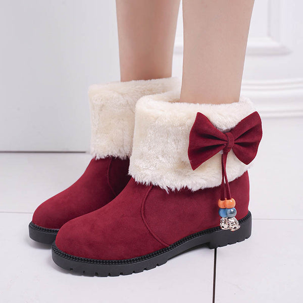 New Style Women Low Heel Bowknot Winter Warm Snow Boots