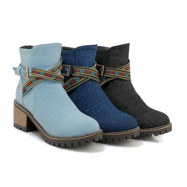 Denim Ankle Boots Elegant Ribbon Low Heel Martin Boots