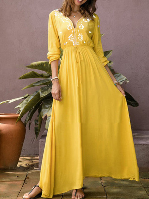 Yellow Elegant Floral-Print V Neck Dresses