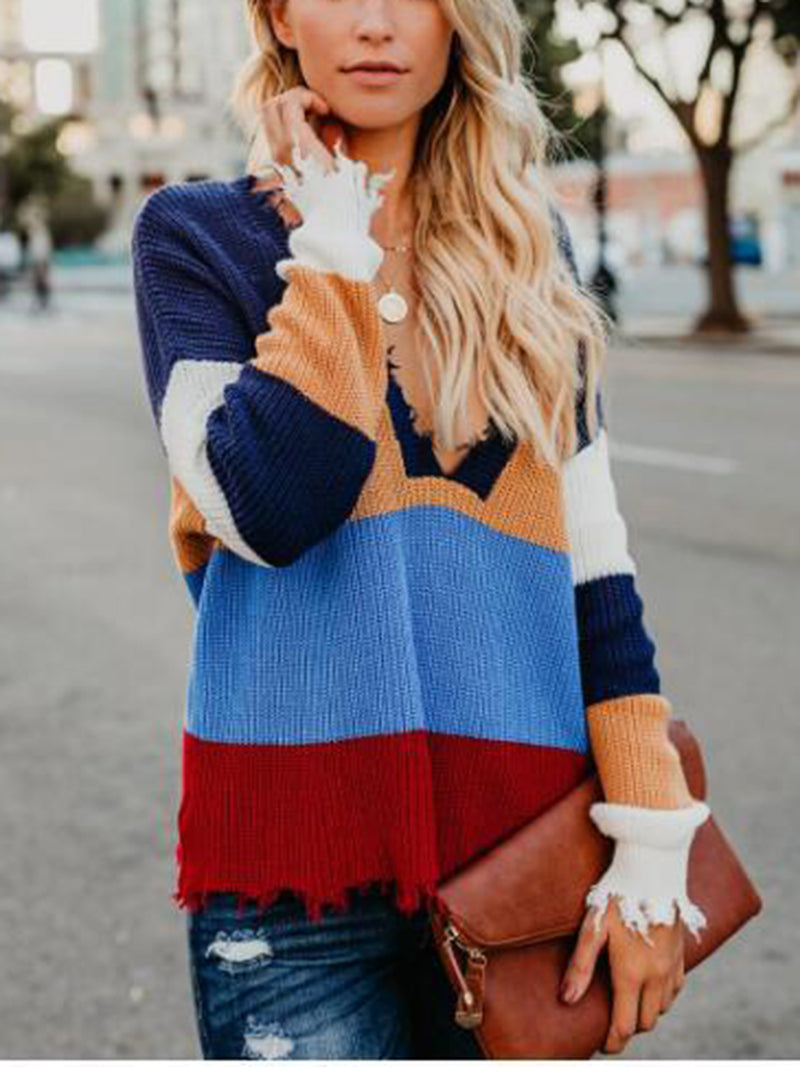 Color Block Frayed Hem Sweater