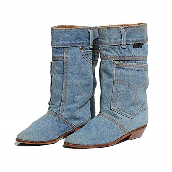 Mid-calf Boots Low Heels Denim Casual Cowboy Booties