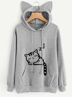 Animal Casual Long Sleeve Hoodie Top