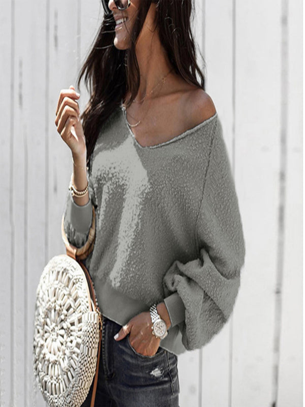 V Neck Casual Balloon Sleeve Knitwear