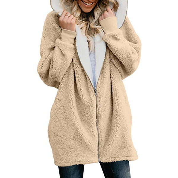 Zipper Solid Sweet Hoodie Teddy Bear Coats