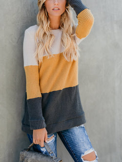 Color Block Striped Loose Sweater