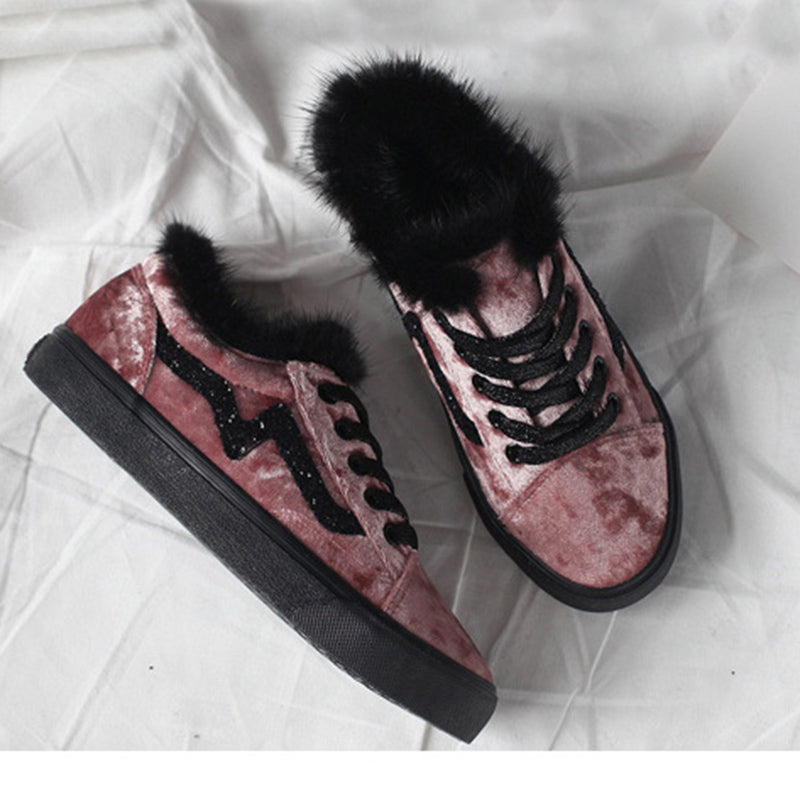 New Style Women Winter Warm Flat Heel Comfort Sneakers