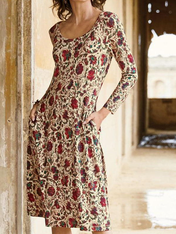 Floral Printed Crew Neck Long Sleeve Dresses