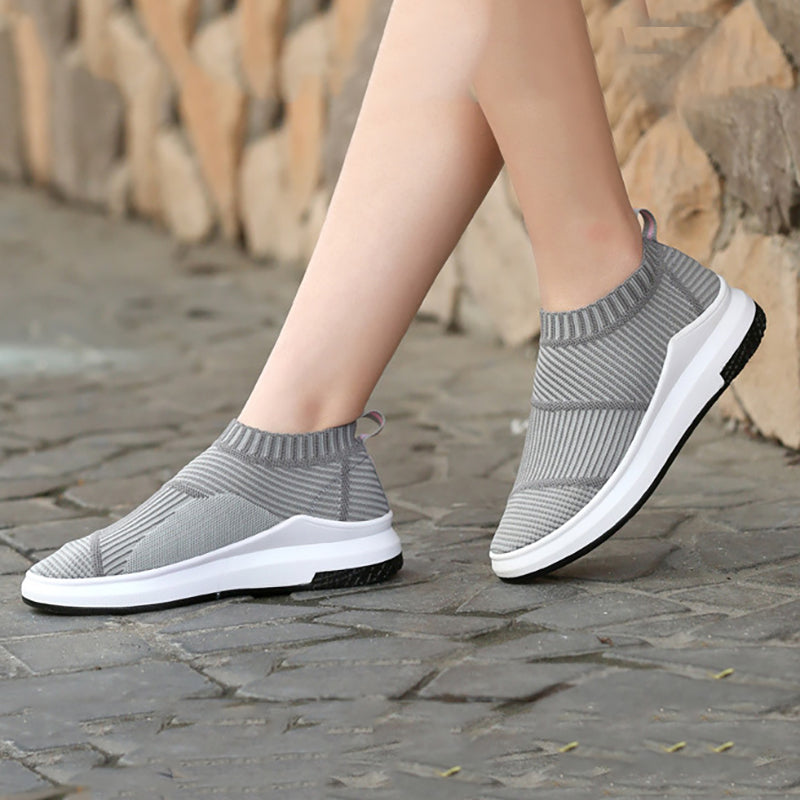 Women Flyknit Fabric Sneakers Casual Comfort Slip On Shoes
