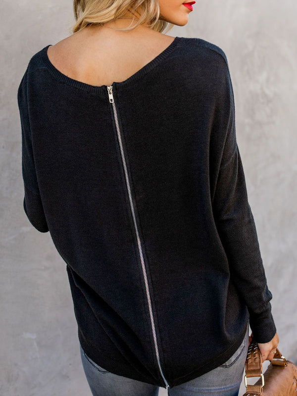 Crew Neck Long Sleeve Casual Back-Zipper Sweaters