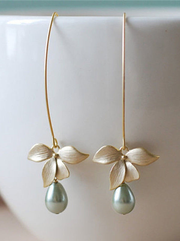 Women Stud Orchid Flower Sage Green Pearl Earring Hook Dangle