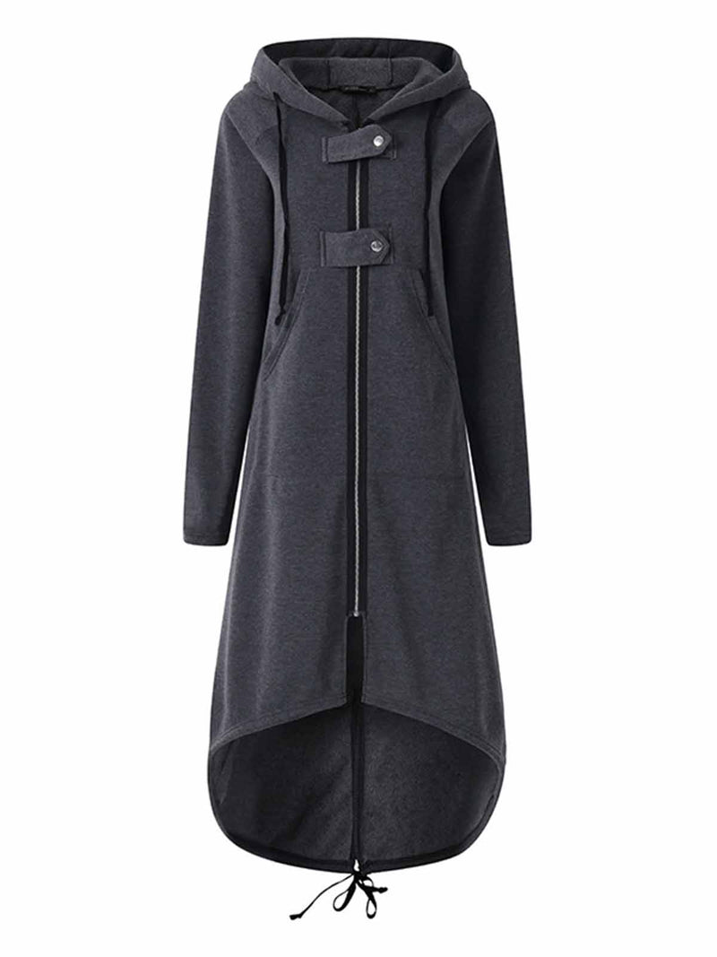 Plain Hoodie Casual Shift Zipper Pockets Winter Plus Size Coat