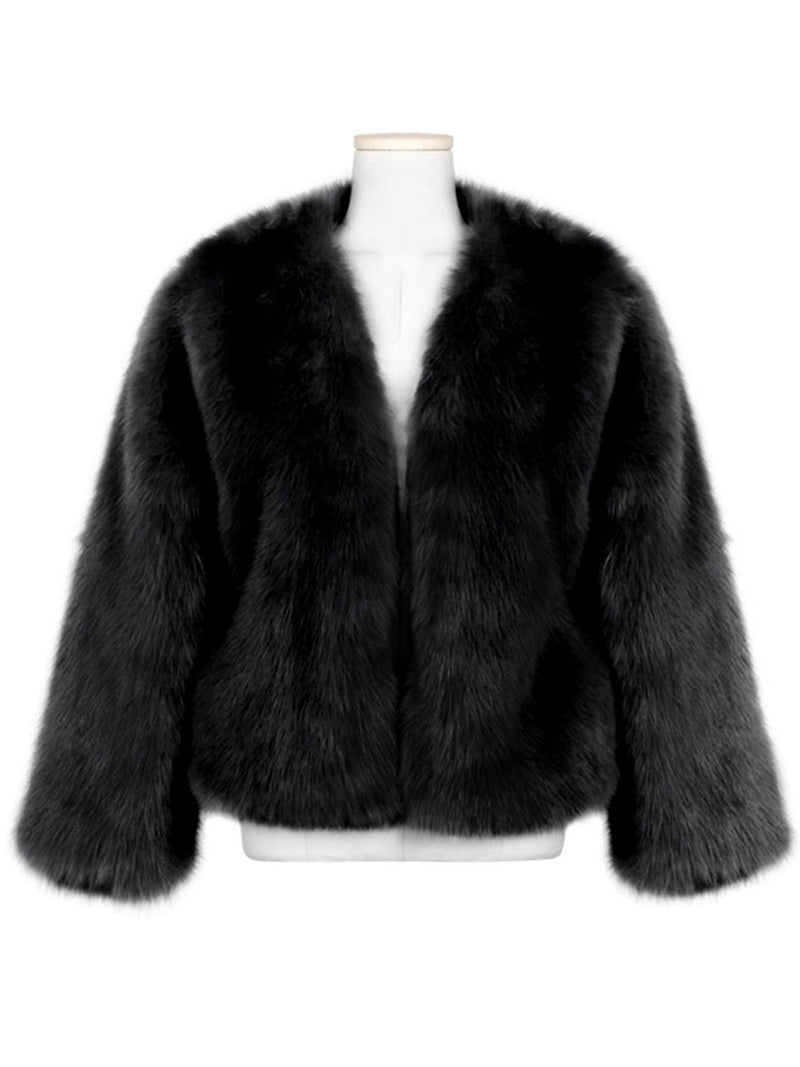 Fuzzy Cashmere Solid Long Sleeve Teddy Bear Coats