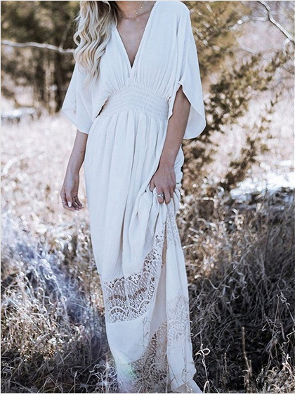 Mostata Women Casual V Neck White Maxi Dresses