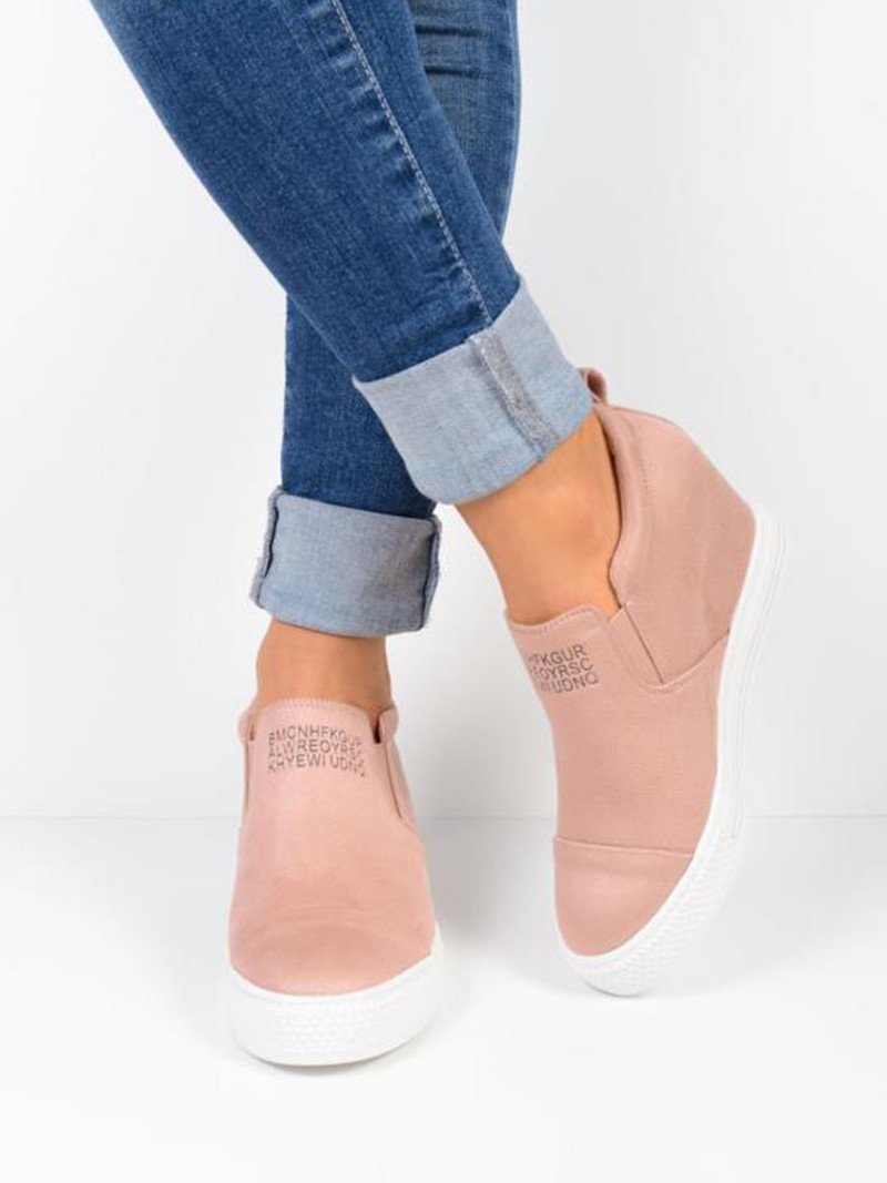 Letter Slip On Faux Suede Wedge Heel Sneakers