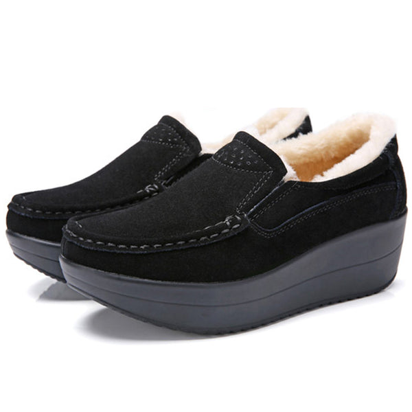 Women Artificial Suede Casual Creepers Loafers