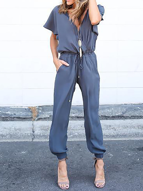 Solid Short Sleeve Casual Cotton Jumpsuit