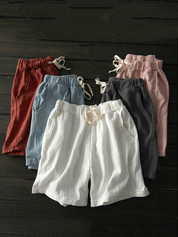 Mostata 6 Colors Pockets Linen Casual Solid Drawcord Plus Size Shorts