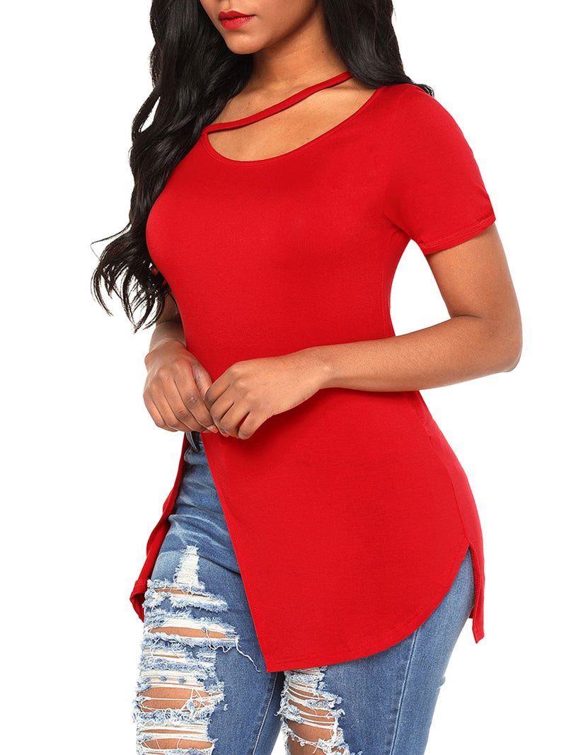 Solid Color Asymmetric Short Sleeve T-Shirts