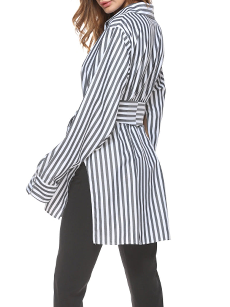 Stripe Lace-Up Turn Down Collar Long Sleeve Blouse