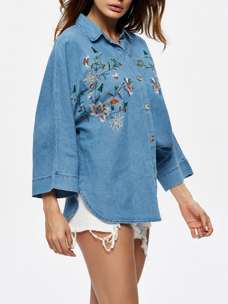 Denim Embroidery Loose Button Blouse