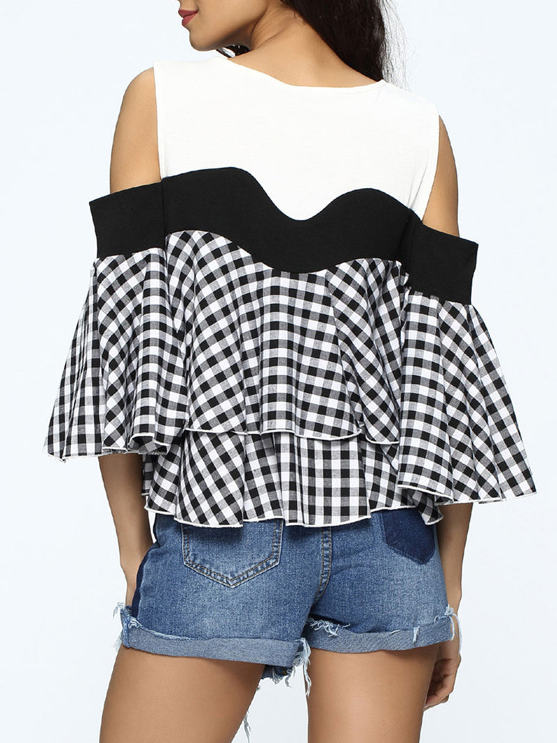 Cold Sholder Plaid Pleated Falbala Patchwork Blouse