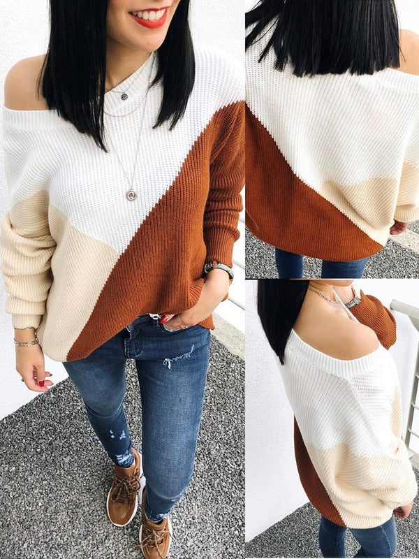 Paneled Geometric Crew Neck Long Sleeve Sweaters