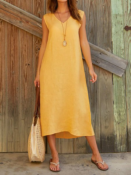 Solid V Neck Sleeveless Casual Dresses
