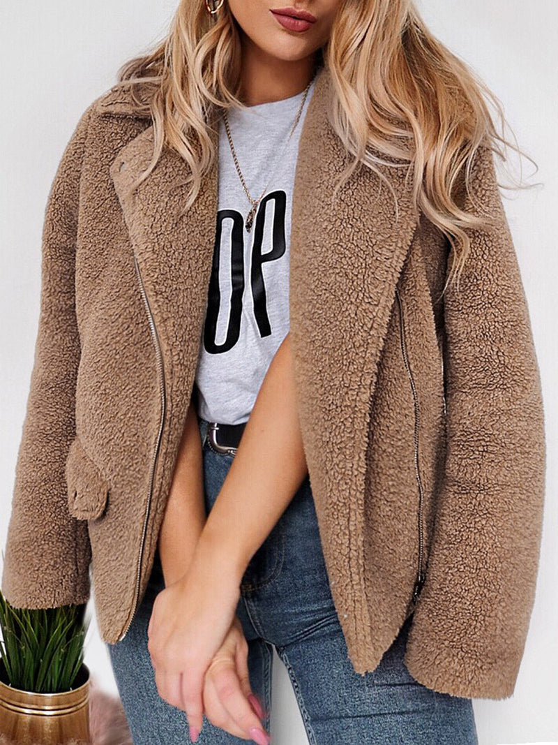 Zipper Long Sleeve Shawl Collar Solid Fuzzy Cozy Jackets