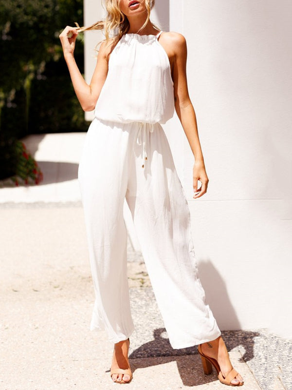 Solid Plain Lace Up Sleeveless Halter Jumpsuits