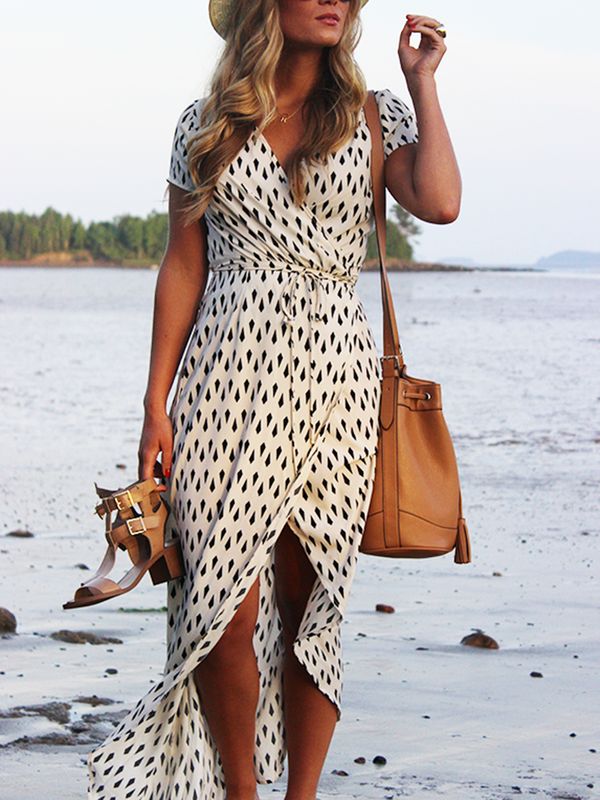 Apricot Asymmetrical Polka Dots Short Sleeve Casual Vacation Dresses