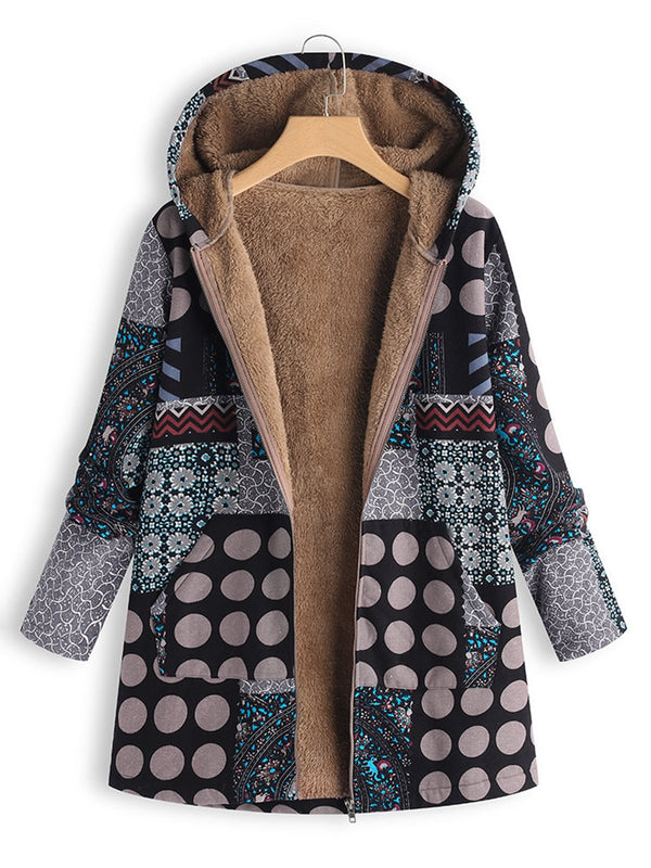 Comfy Hoodie Printed Casual Cotton Coat