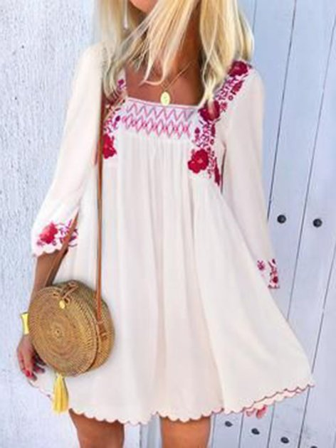 Mostata White Long Sleeve Embroidered Cotton Shift Boho Dresses