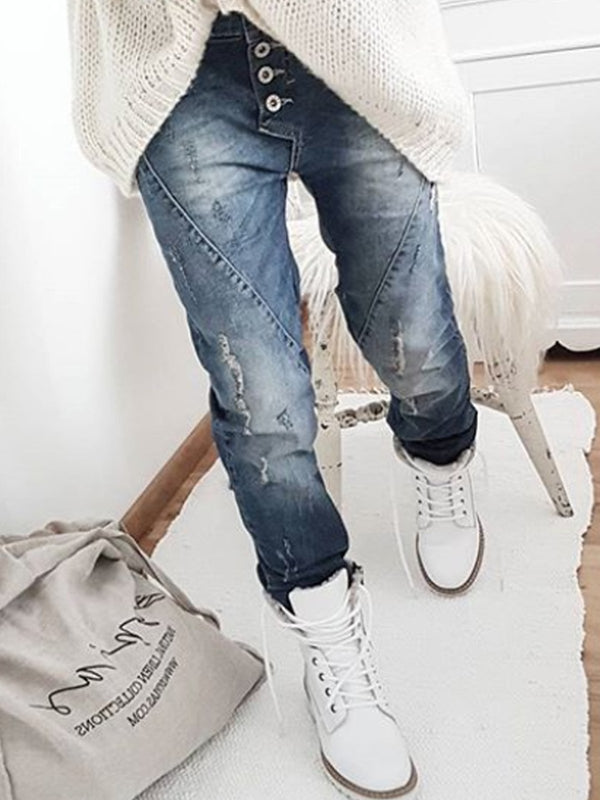 Mostata Ripped Jeans Buttoned Patchwork Denim Pants