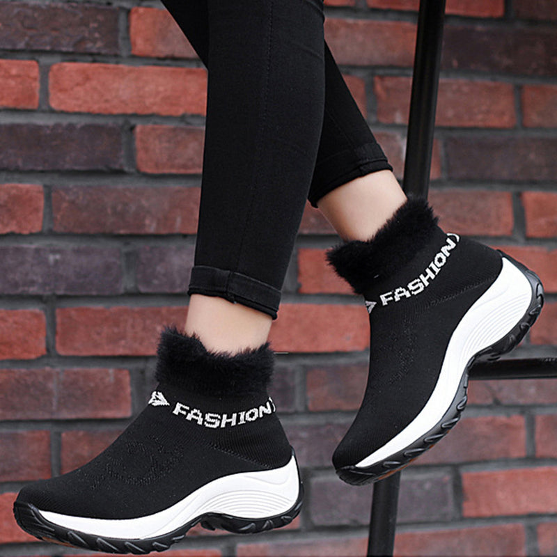 Women's Boots Red Round Toe Athletic Platform Boots