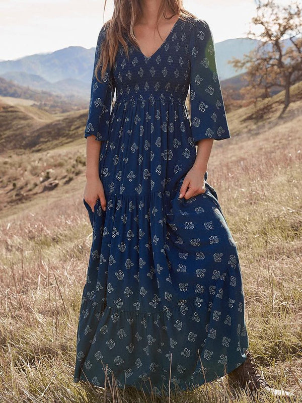 Mostata Boho Deep Blue V Neck Shift 3/4 Sleeve Dresses For Women