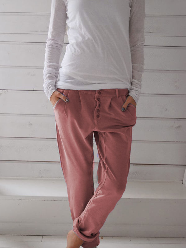 Mostata Solid Drawstring Casual Linen Pants Women Trousers