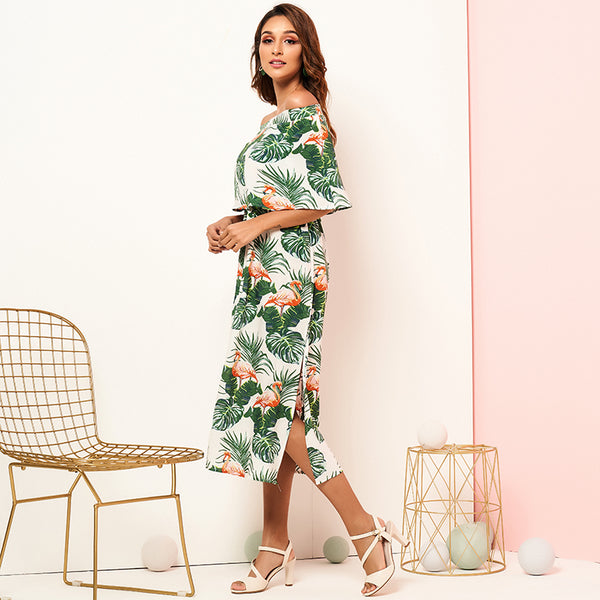 As Picture Frill Sleeve Off Shoulder Floral Dresses