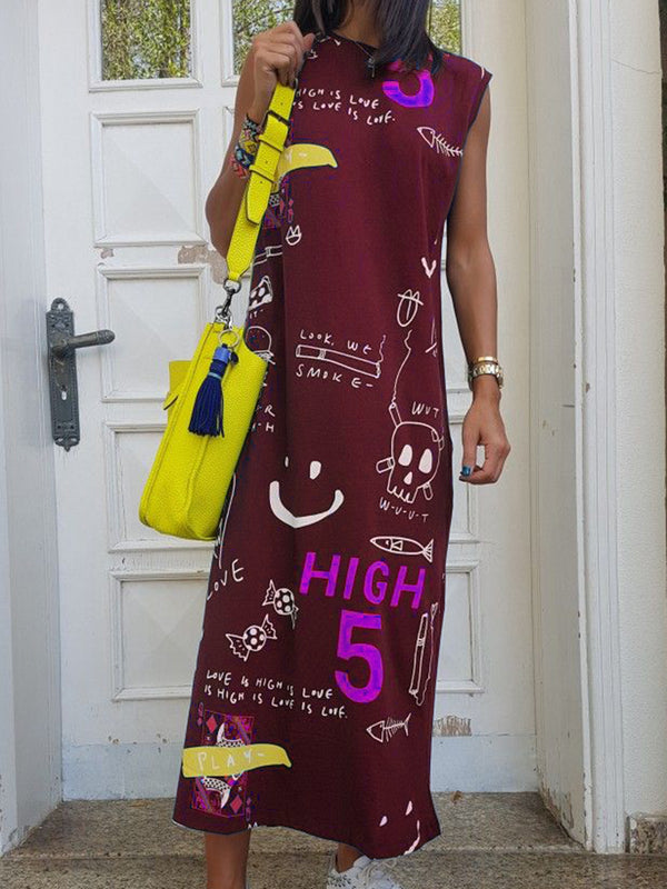 Crew Neck Printed Going Out Casual Abstract Dresses