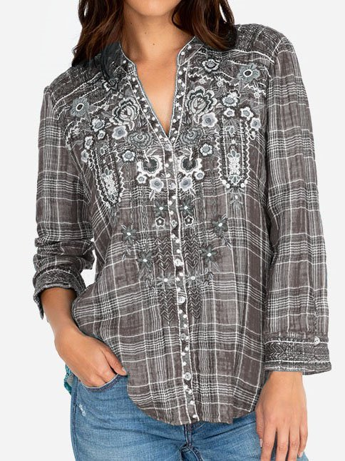 Boho Cotton-Blend Shirts & Tops