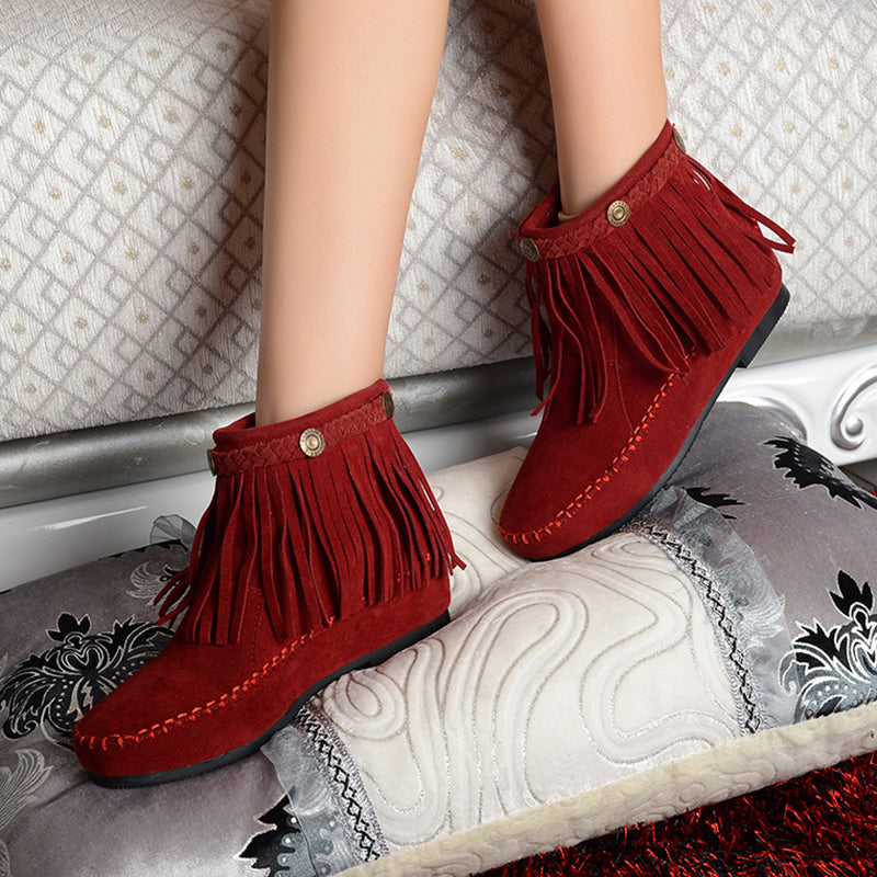 Autumn Suede Leather Moccasin Fringe Tassel Ankle Boots Womens Shoes