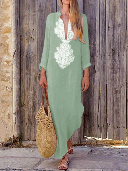 Mostata 2019 Summer Dresses Casual V Neck Slit Maxi Dress