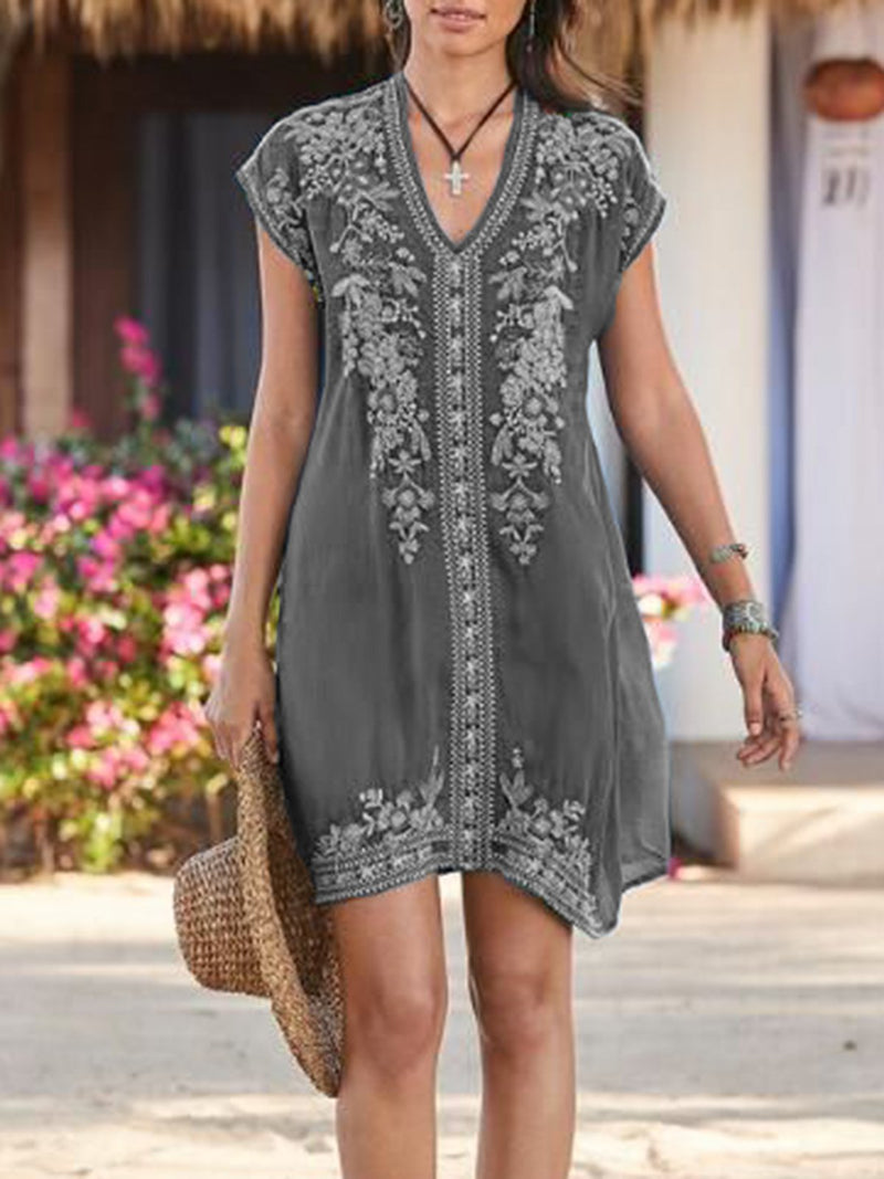 Mostata Summer V neck Short Sleeve Embroidered Shift Mexican Women Boho Dresses