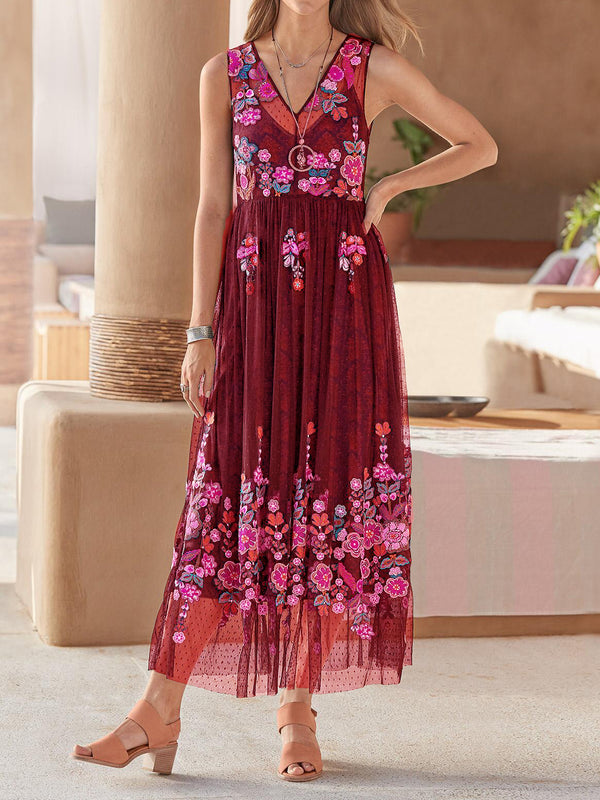V Neck Floral Casual Sleeveless Dresses