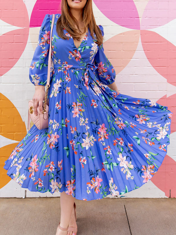 Casual Vacation V Neck Balloon Sleeve Sheath Pleated Bow Floral Madi Dress