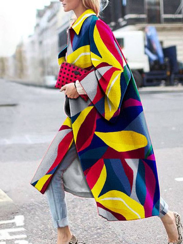 Multicolor Geometric Printed Casual Outerwear